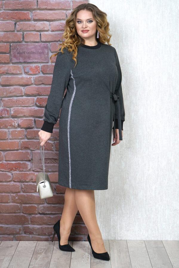 Серое трикотажное платье ALANI COLLECTION 1279 купить