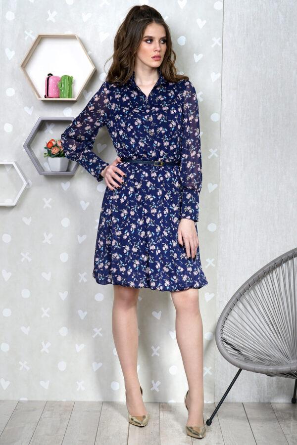 Синее платье в цветы миди ALANI COLLECTION 1342 купить