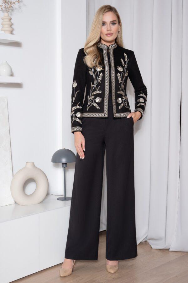 Костюм женский черный с вышивкой брюки палаццо URS 557
