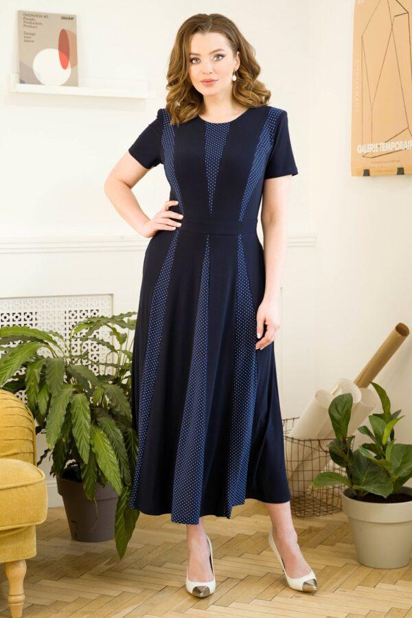 Длинное летнее платье синее URS 21-569-1 купить