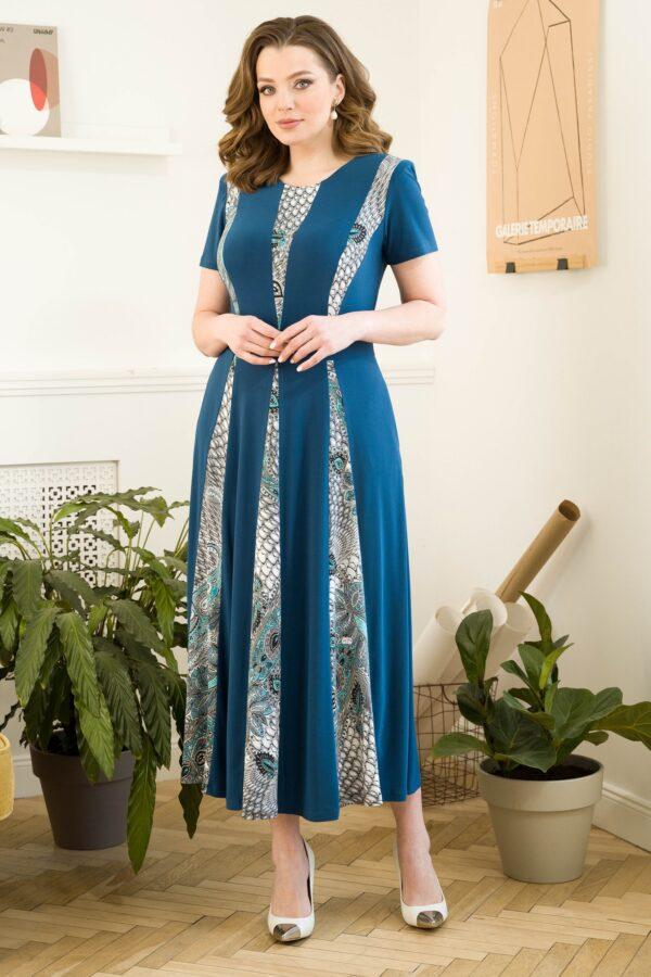 Длинное летнее платье голубое URS 21-569-2 купить