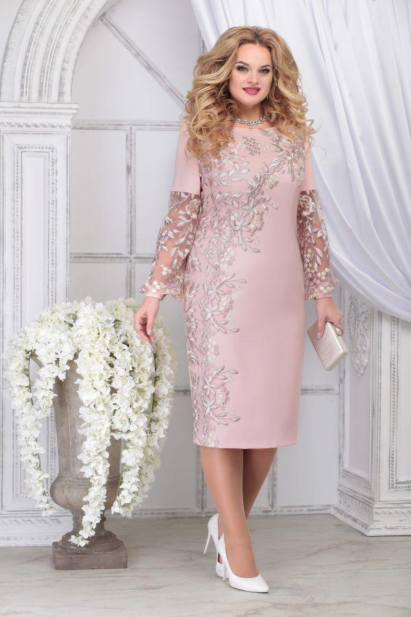 Нарядное платье NINELE 5817 пудровое для полных купить