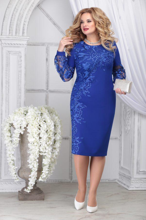 Вечернее платье NINELE 5817 синее для полных купить