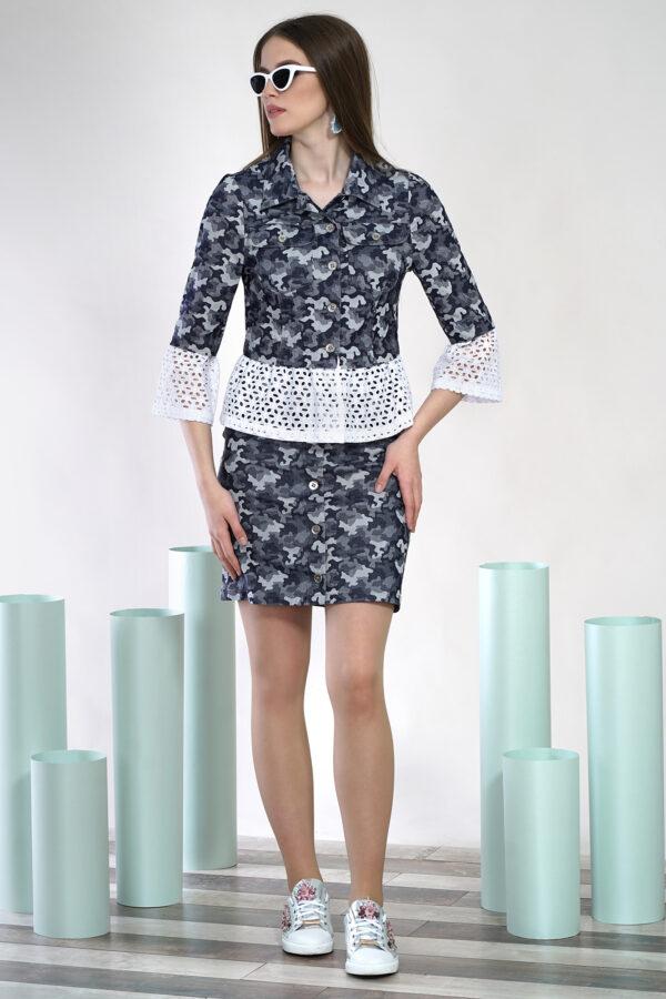 Юбочный костюм серый ALANI COLLECTION 1401 купить