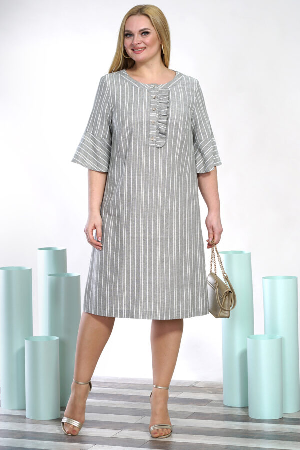 Хлопковое платье серое ALANI COLLECTION 1403 купить