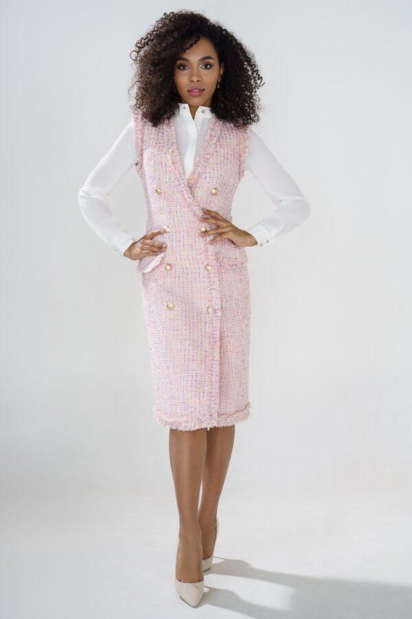 Платье-жилет URS 21-580 розовое купить в интернет-магазине