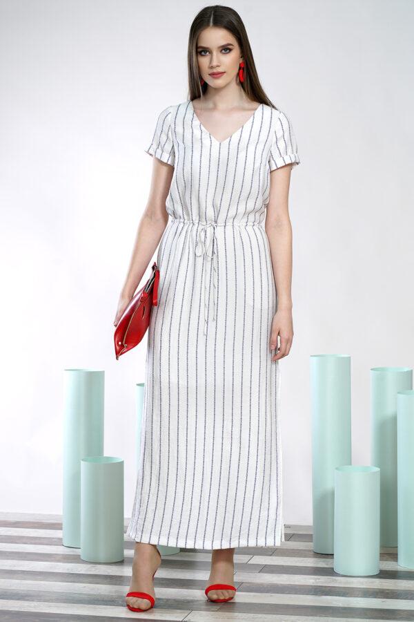 Белое платье в полоску ALANI COLLECTION 1426 купить
