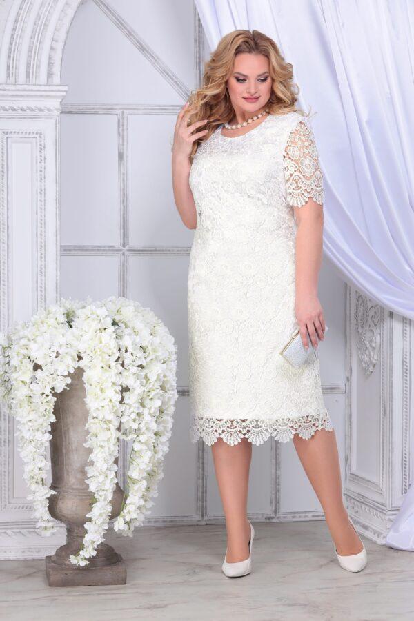 Нарядное кружевное платье NINELE 2296 белое миди купить