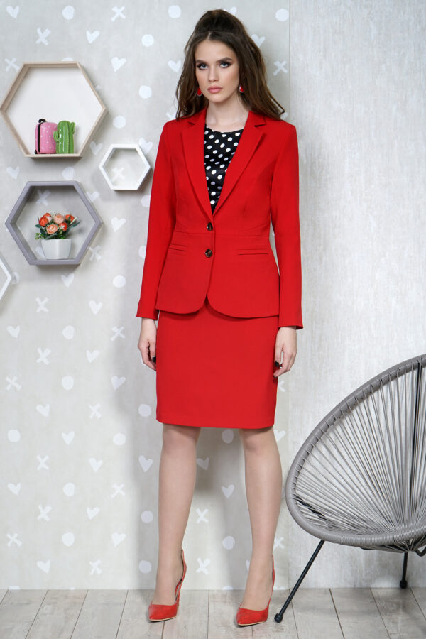 Красный юбочный костюм тройка ALANI 1334 купить