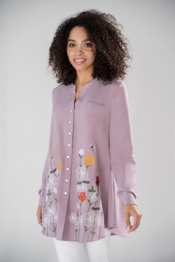 Блузка с вышивкой большие размеры URS-21-633-1 купить