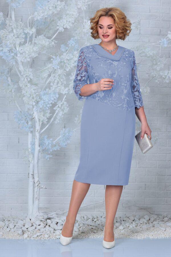 Платье с кружевом нарядное голубое NINELE 2301 купить