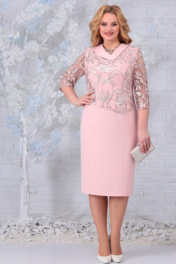Платье с кружевом вышивка розовое NINELE 2301 купить