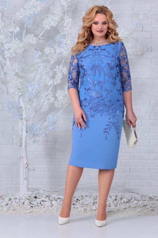 Платье с кружевом нарядное голубое NINELE 5753 купить