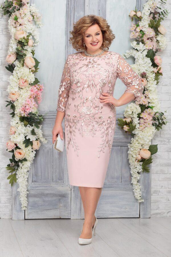 Платье с кружевом розовое миди NINELE 5753 купить