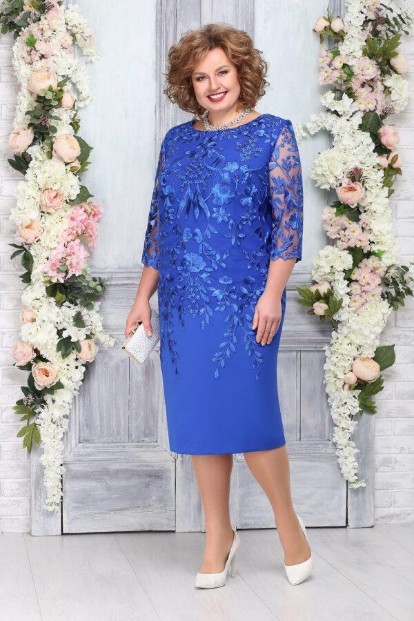 Платье с кружевом шикарное голубое NINELE 5753 купить