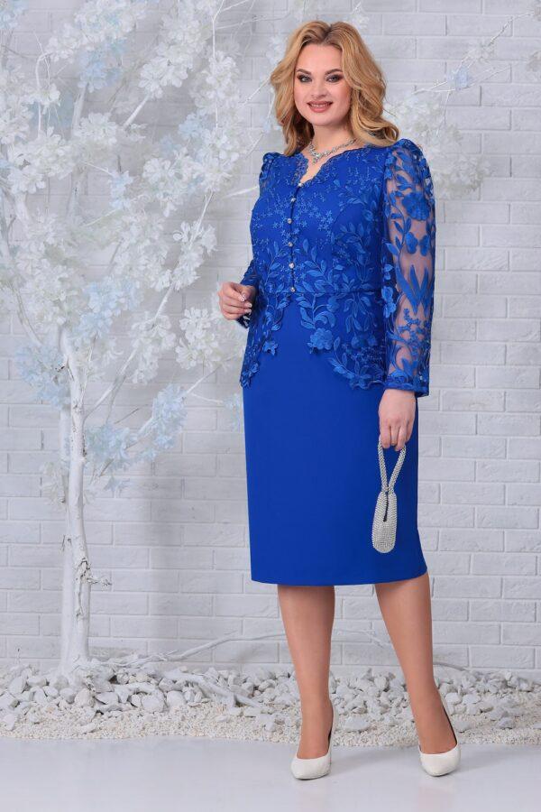 Платье с вышивкой и кружевом синий NINELE 5845 купить