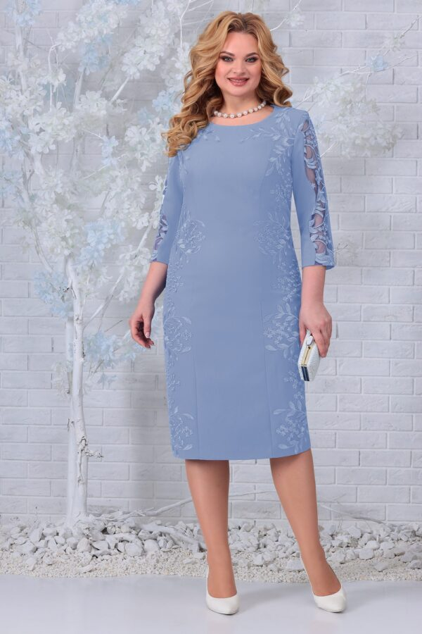 Белорусские платья нарядные NINELE 5848 голубой купить