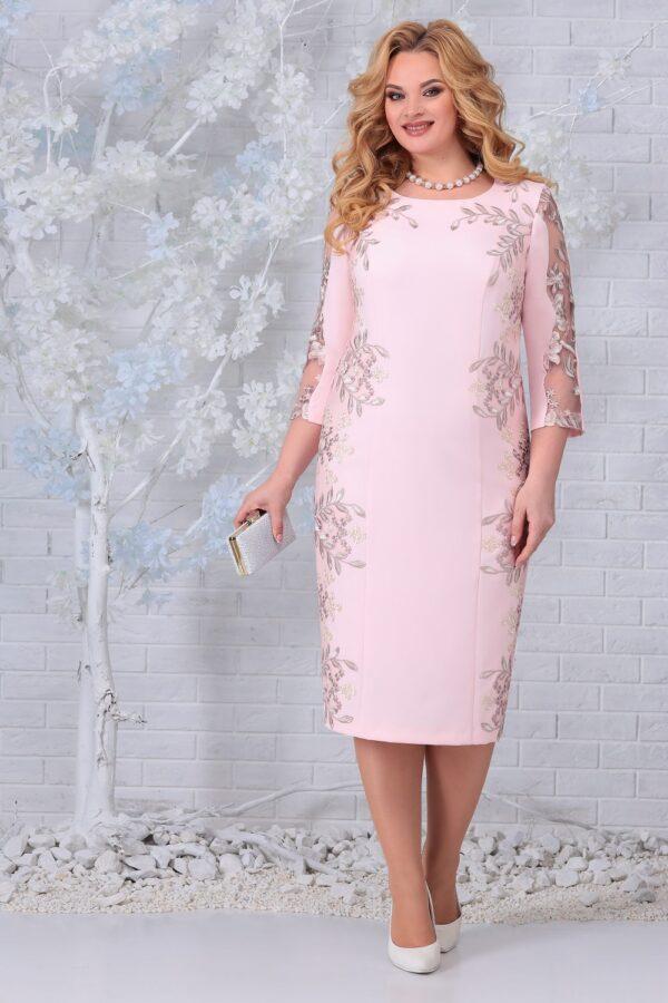 Белорусские платья с вышивкой пудра NINELE 5848 купить