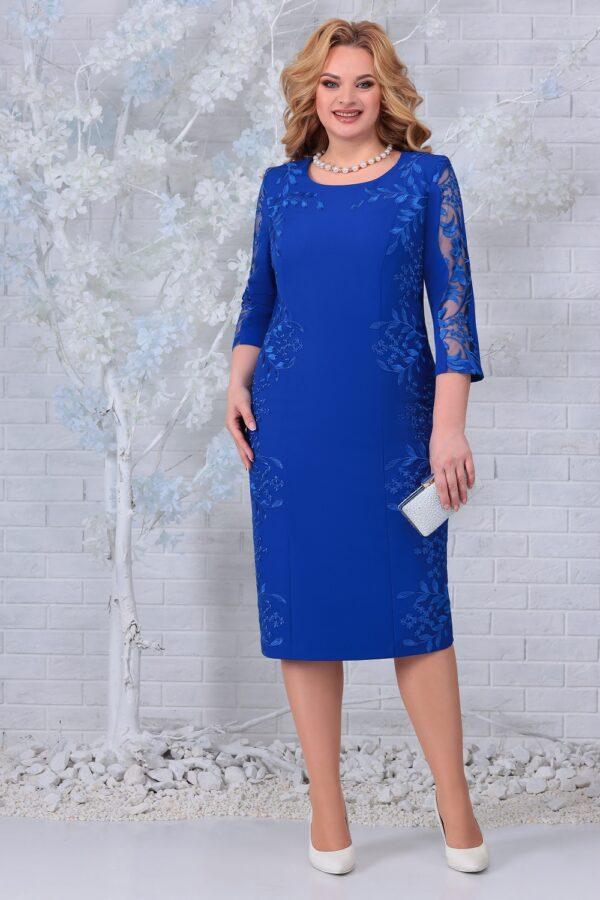 Белорусские платья с кружевом синий NINELE 5848 купить