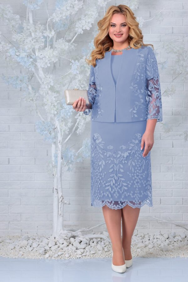 Платье с жакетом нарядное голубой NINELE 5854 купить