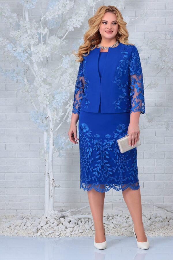 Платье с жакетом и кружевом для полных NINELE 5854 купить