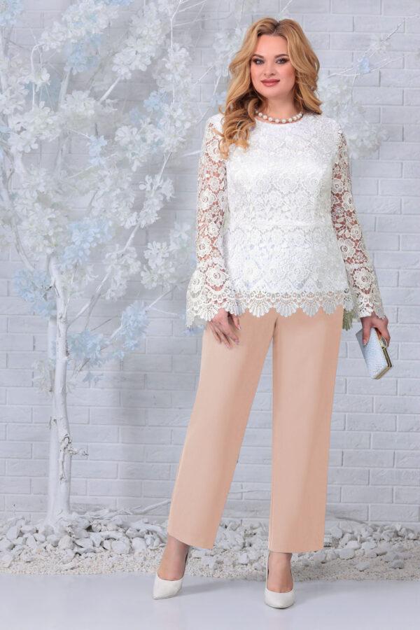 Блузка из кружева и брюки бежевый NINELE 7330 купить