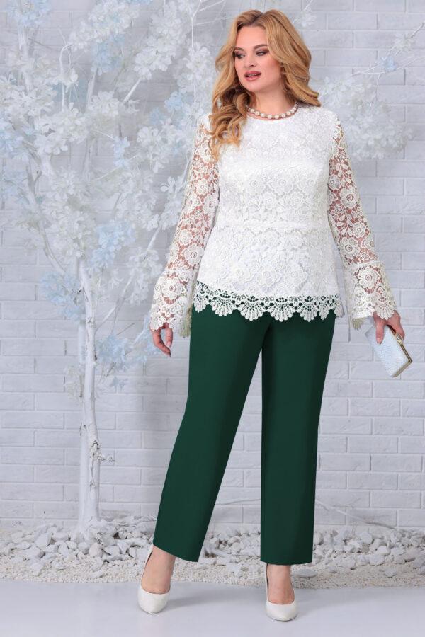 Блузка из кружева и брюки зеленые NINELE 7330 купить