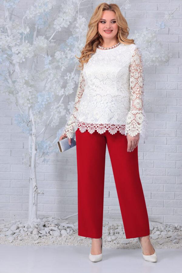 Блузка из кружева и брюки красный NINELE 7330 купить