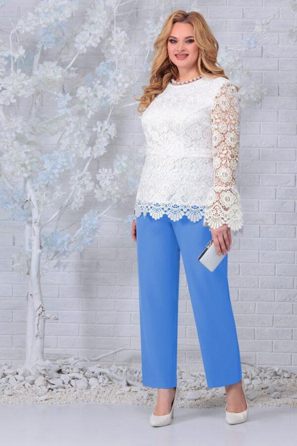 Блузка из кружева и брюки голубой NINELE 7330 купить