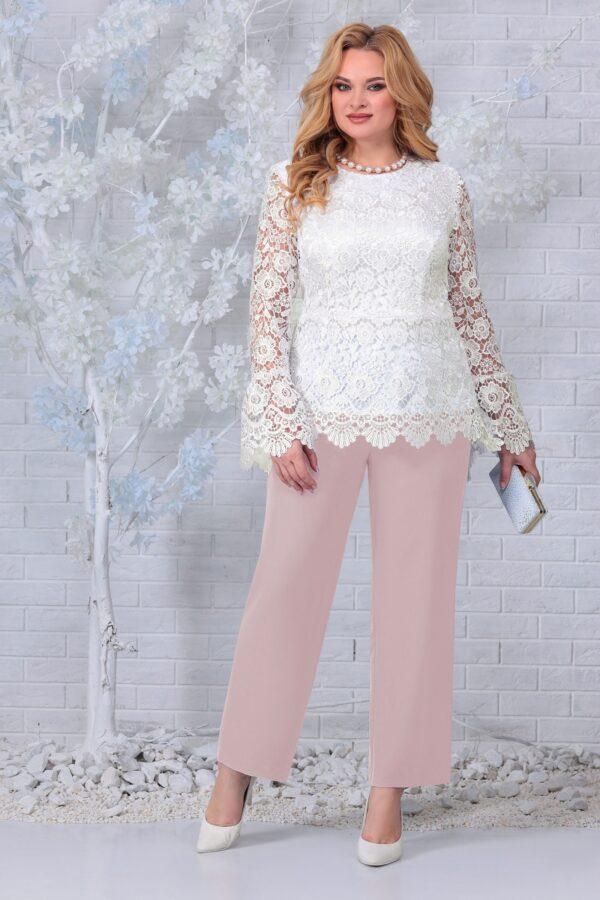Блузка из кружева и брюки пудра NINELE 7330 купить