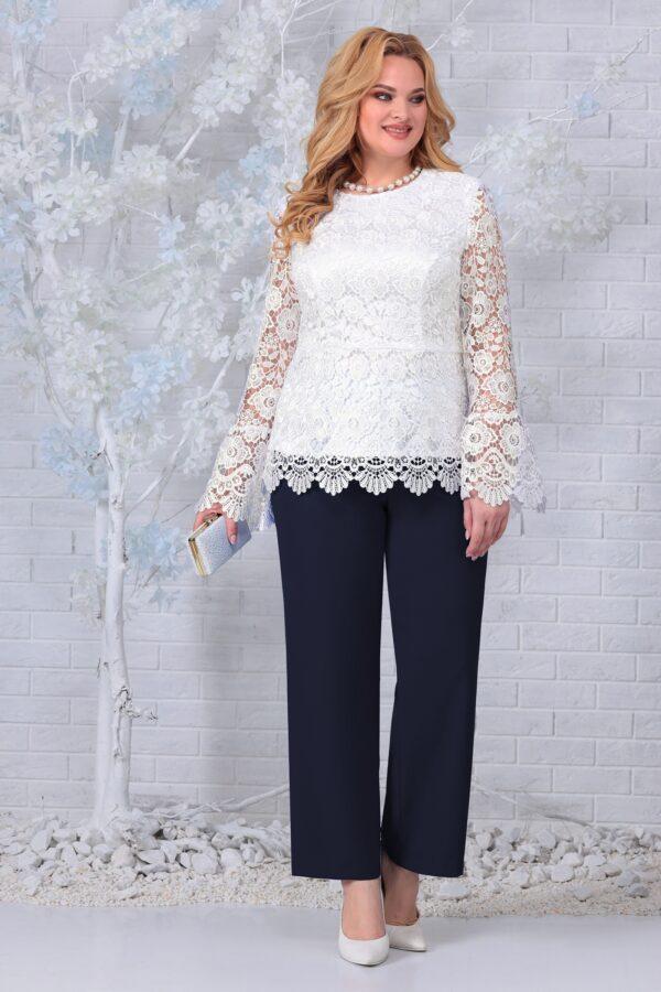 Блузка из кружева и брюки темно синие NINELE 7330 купить