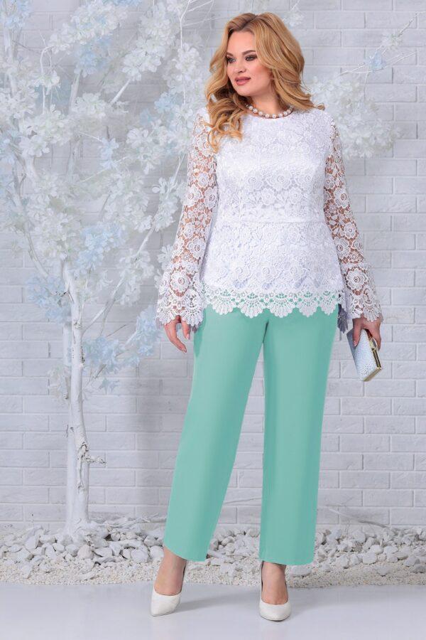 Блузка из кружева и брюки мятный NINELE 7330 купить