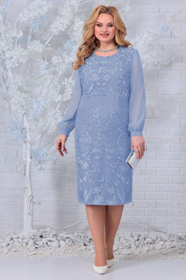 Праздничное платье вышивка голубое NINELE 7331 купить