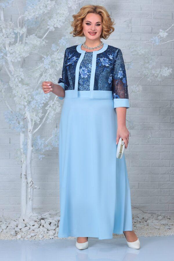 Длинное нарядное платье с гипюром NINELE 7333 купить