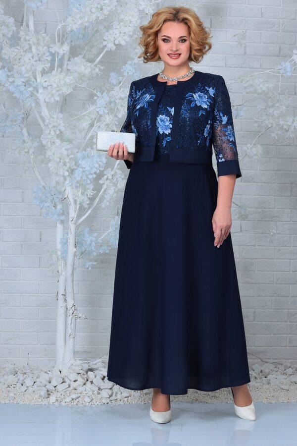 Длинное нарядное платье кружево синее NINELE 7333 купить