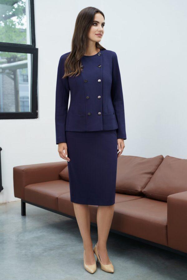 Юбочный деловой костюм синий трикотаж URS 21-603 купить