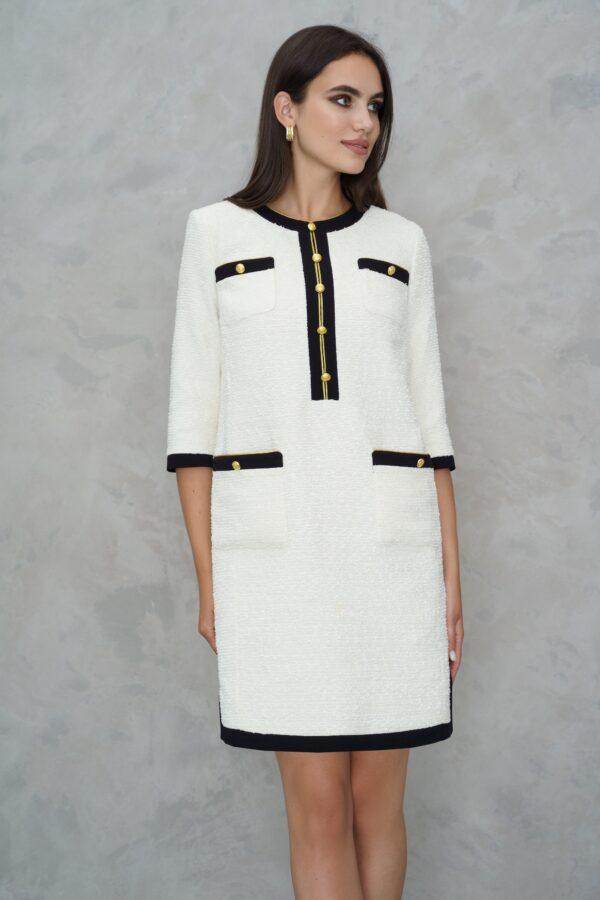 Платье в стиле Шанель белое с черным URS 21-619-1 купить
