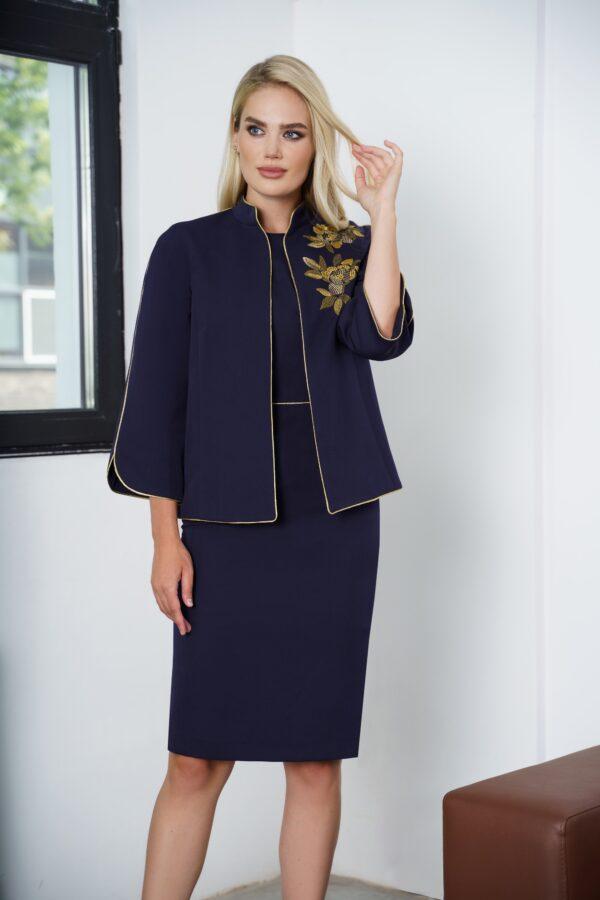 Платье с пиджаком синее с вышивкой золото URS 21-639 купить