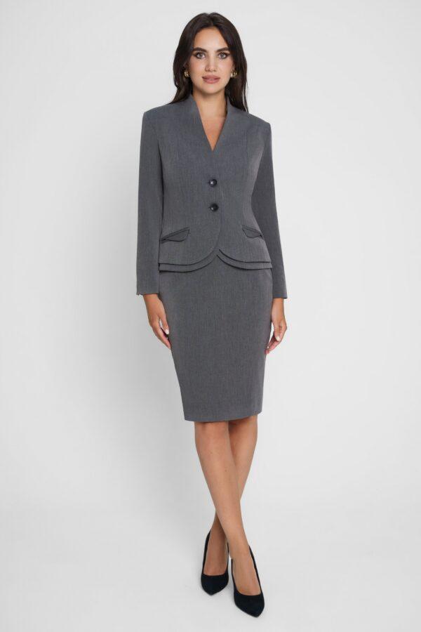 Юбочный деловой костюм серый URS 21-696-1 купить