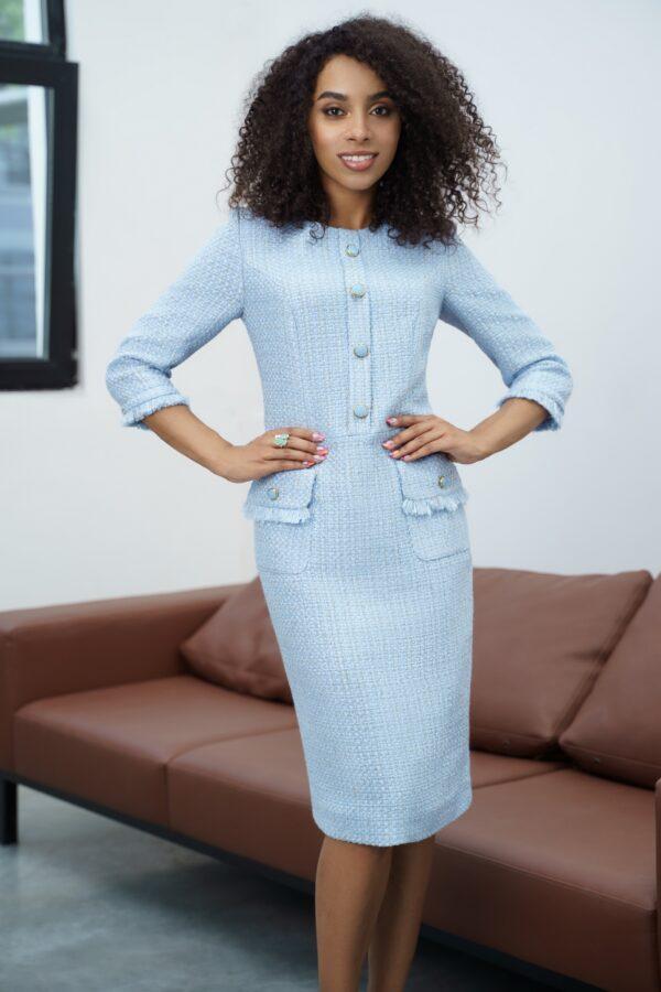Платье в стиле Шанель Голубое карандаш URS 21-918 купить