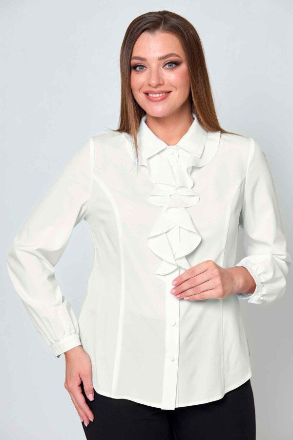 Блузка с жабо молочная размеры 48-52 Асолия 4076/2 купить