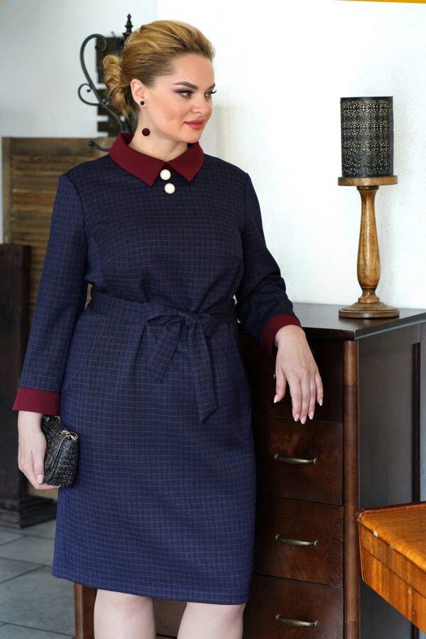 Платье осеннее в офис синее для полных купить ALANI 1467
