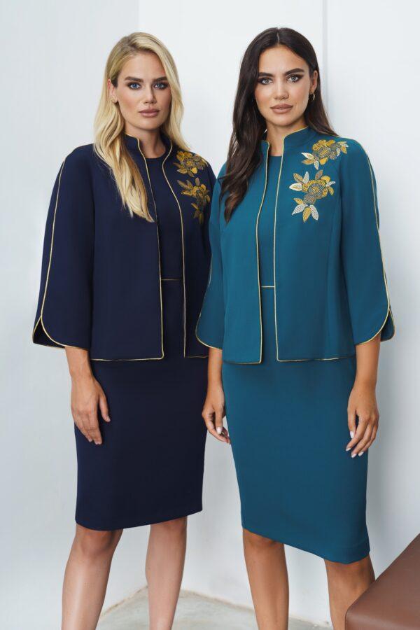 Платье с пиджаком голубое с вышивкой URS 21-639 купить
