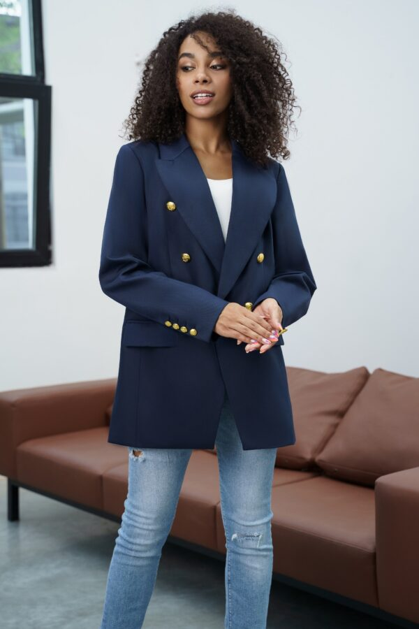Синий жакет-пиджак с золотыми пуговицами URS 21-661 купить
