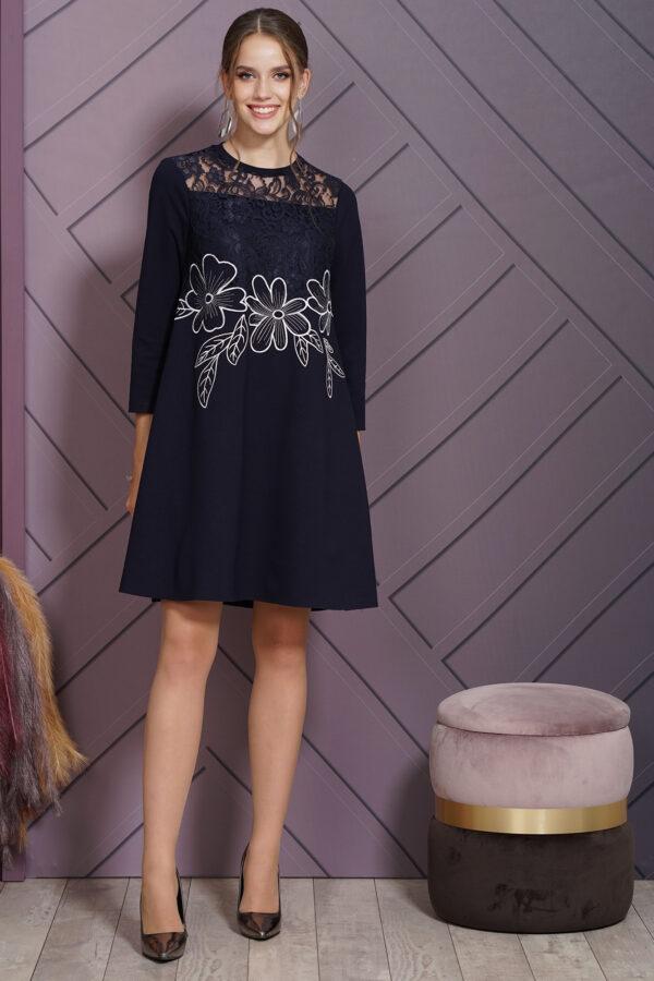 Тёмно-синее платье с кружевом ALANI 1519 купить