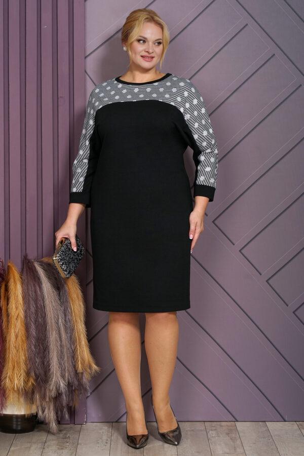 Повседневное чёрное платье миди ALANI 1540 купить
