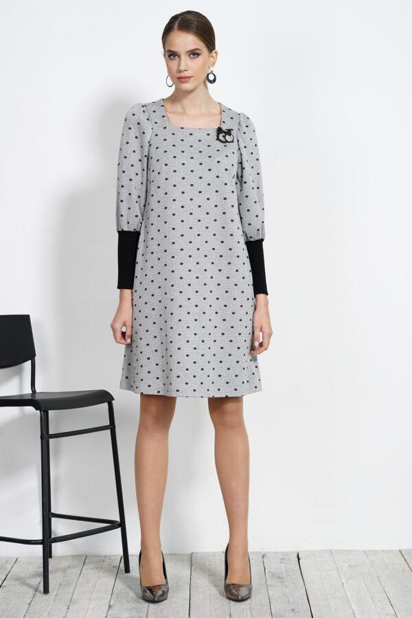 Серое платье в горошек ALANI COLLECTION 1542 купить