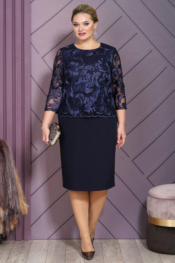 Нарядное платье с кружевом синее ALANI 1543 купить
