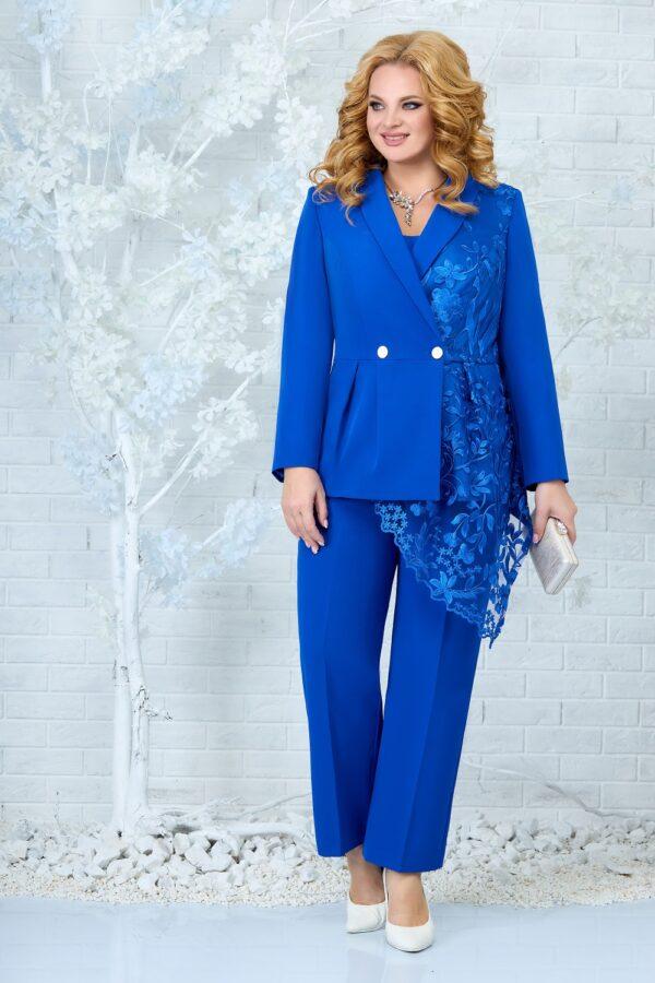 Костюм брючный женский нарядный синий купить Ninele 5857